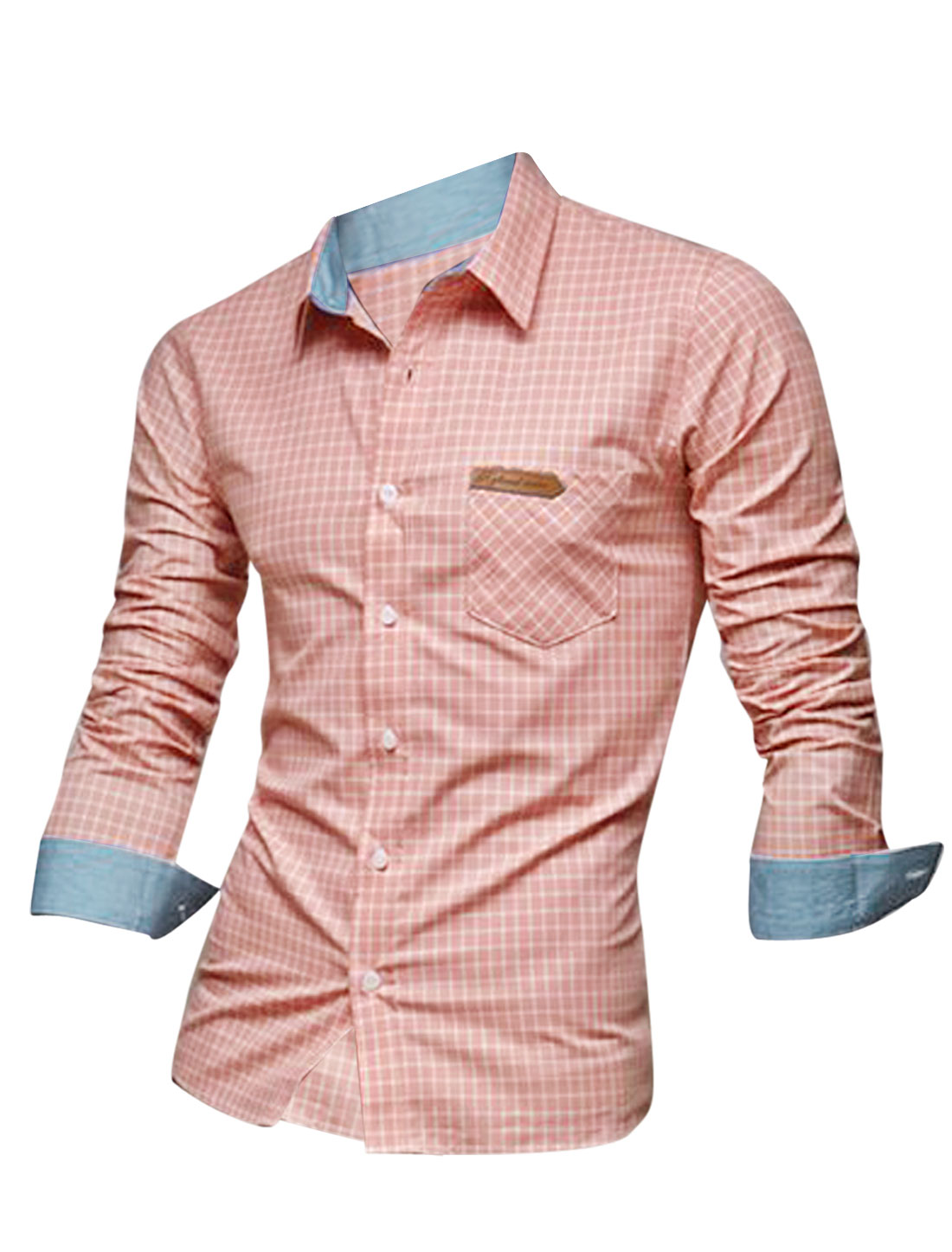 Men Point Collar Long Sleeve Plaids Button Up Gentleman Shirt Pink M