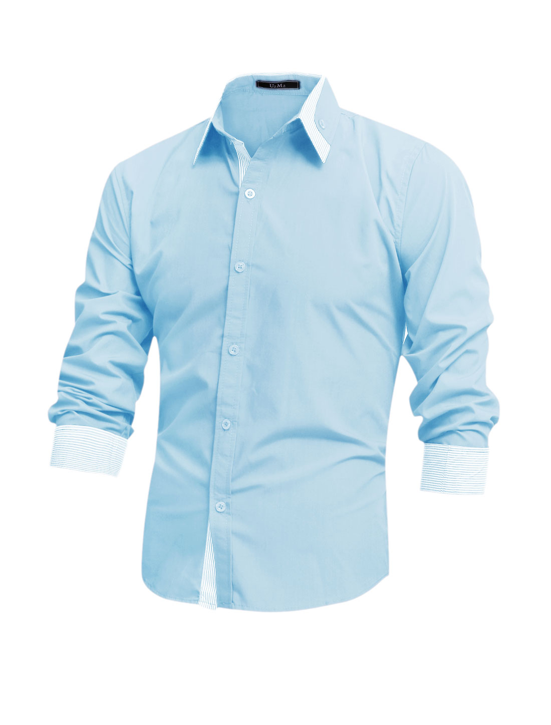 Men Long Sleeve Button Up Button Docor Stripes Detail Shirt Sky Blue M