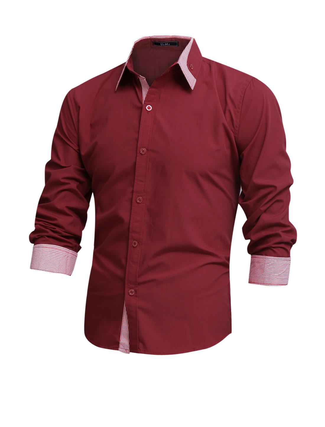 Men Long Sleeve Button Closure Button Docor Stripes Detail Shirt Burgundy M