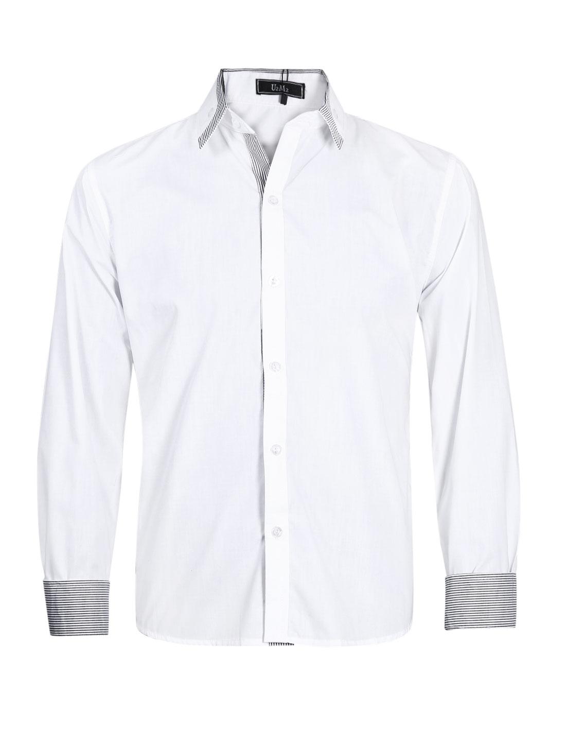 Men Long Sleeve Button Front Button Docor Stripes Detail Shirt White M