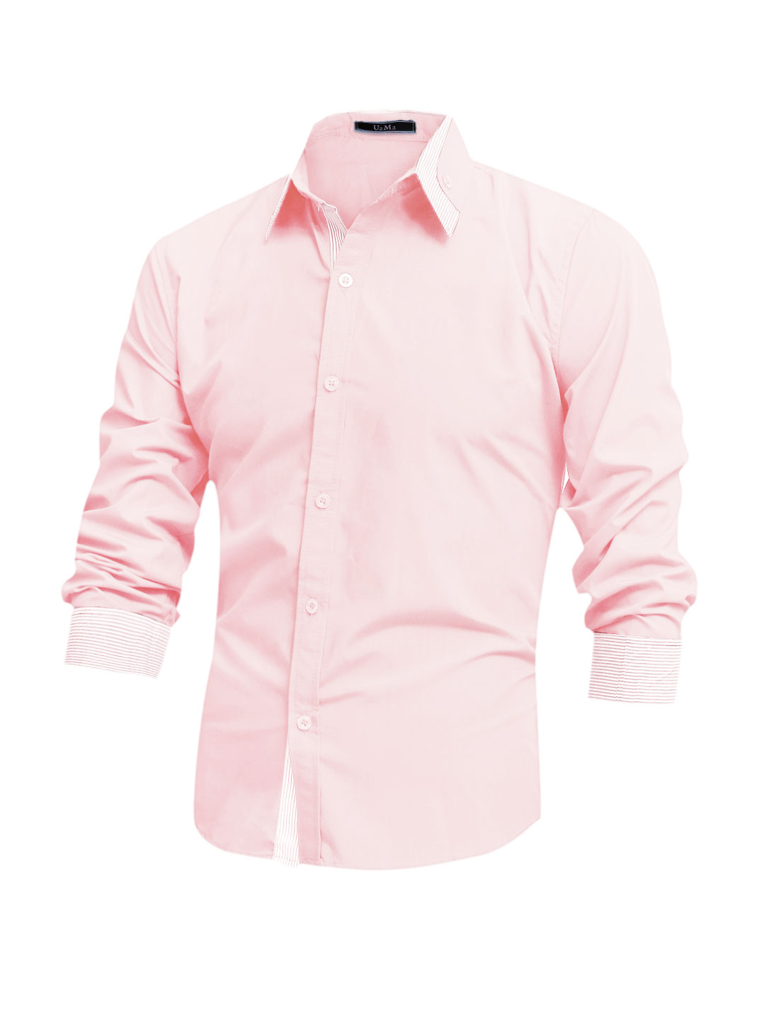 Men Long Sleeve Button Docor Stripes Detail Casual Shirt Pink M