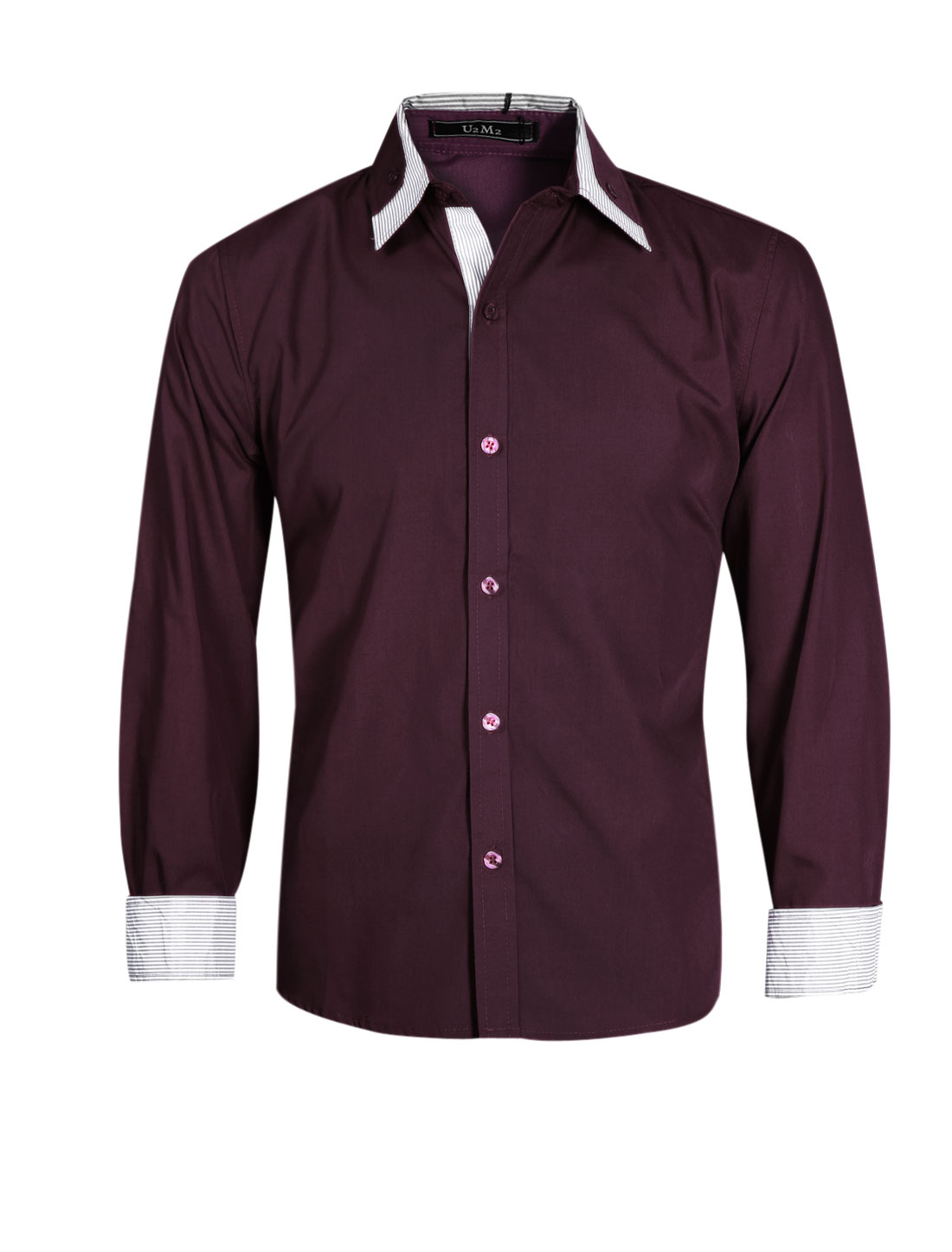 Men Long Sleeve Single Breasted Button Docor Stripes Detail Shirt Dark Purple M