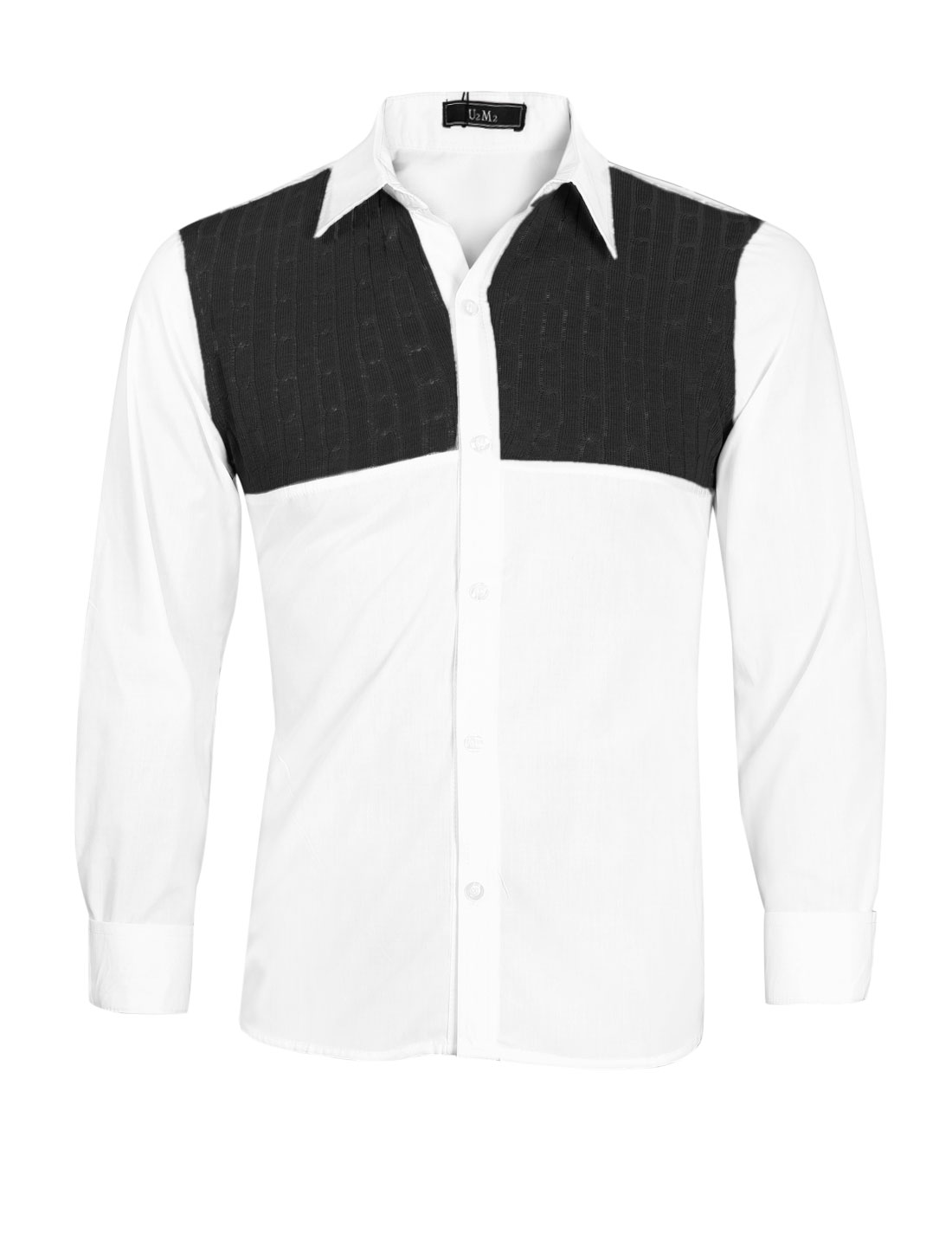 Men Button Up Knitted-Patched Colorblock Shirt White Black M