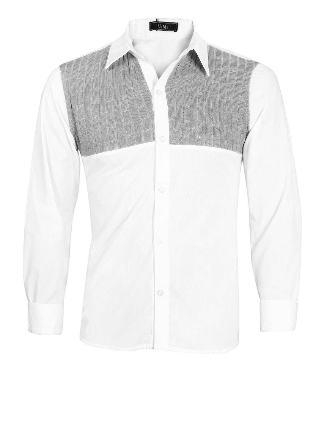 Men Button Cuffs Knitted Panel Colorblock Shirt White Light Gray M