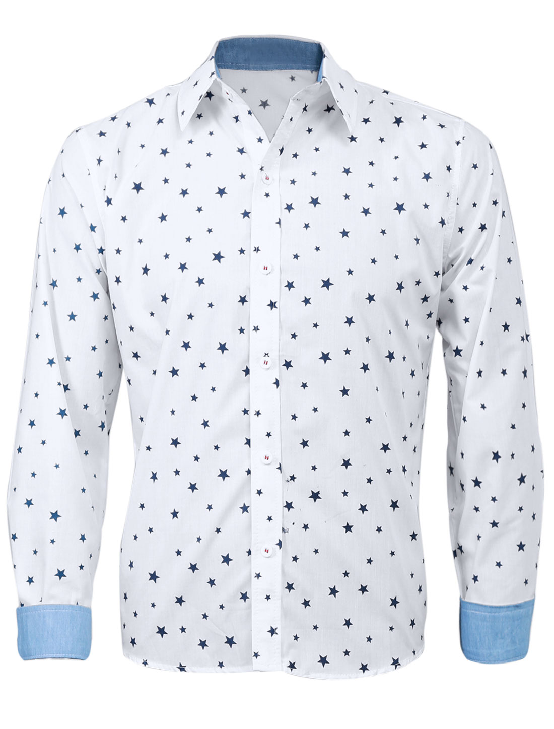 Men Long Sleeve Stars Pattern Single Breasted Round Hem Casual Shirt White M