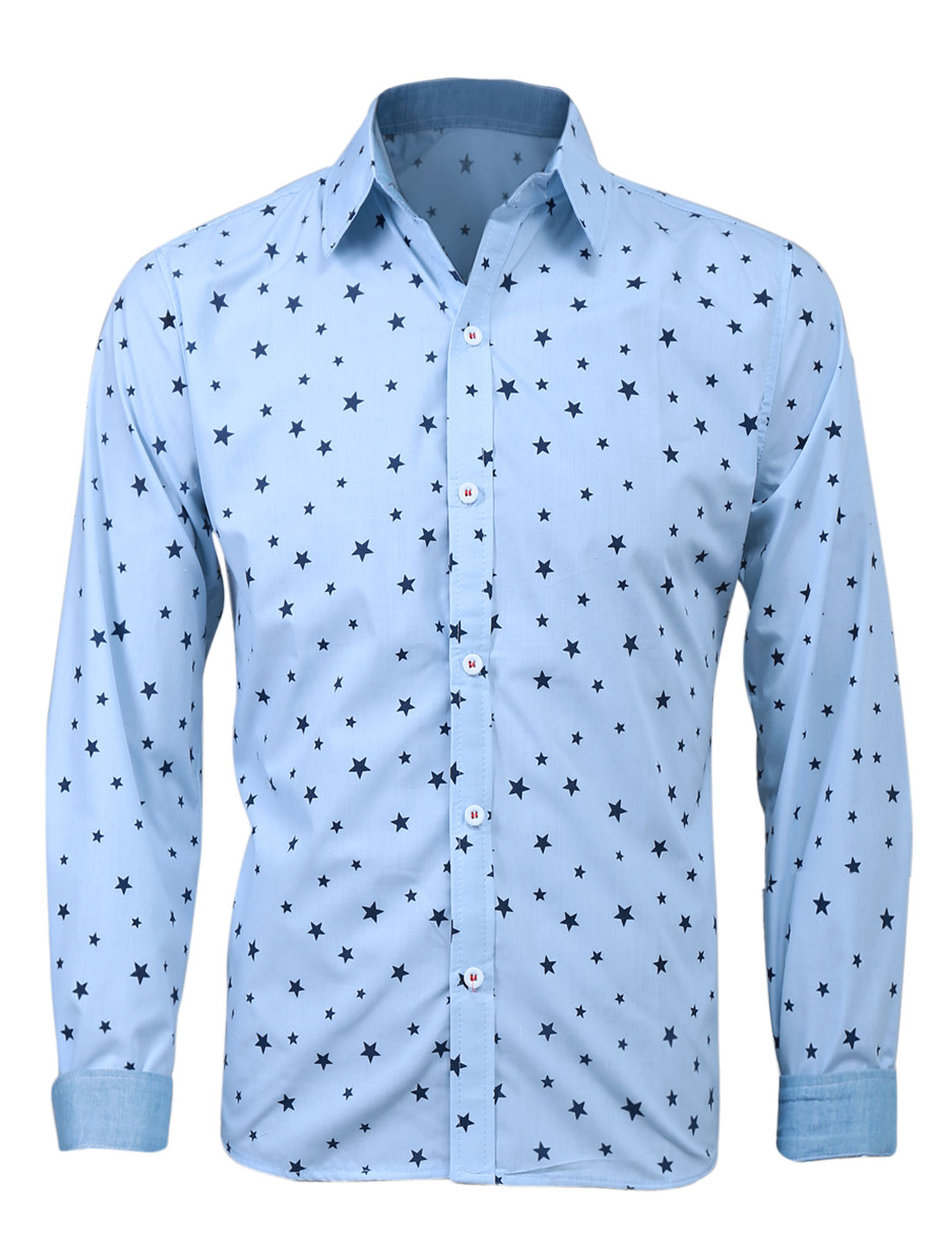 Men Long Sleeve Single Button Cuff Stars Pattern Casual Shirt Light Blue M