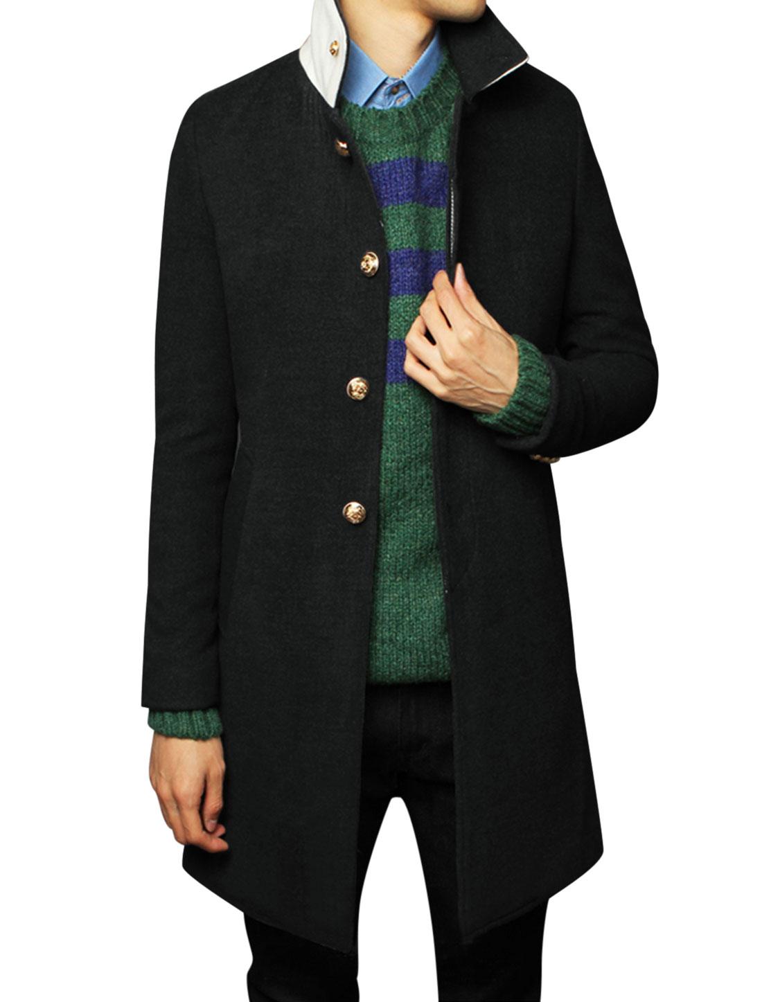 Men Hidden Button Closure Front Slant Pockets Split Back Casual Overcoat Black M