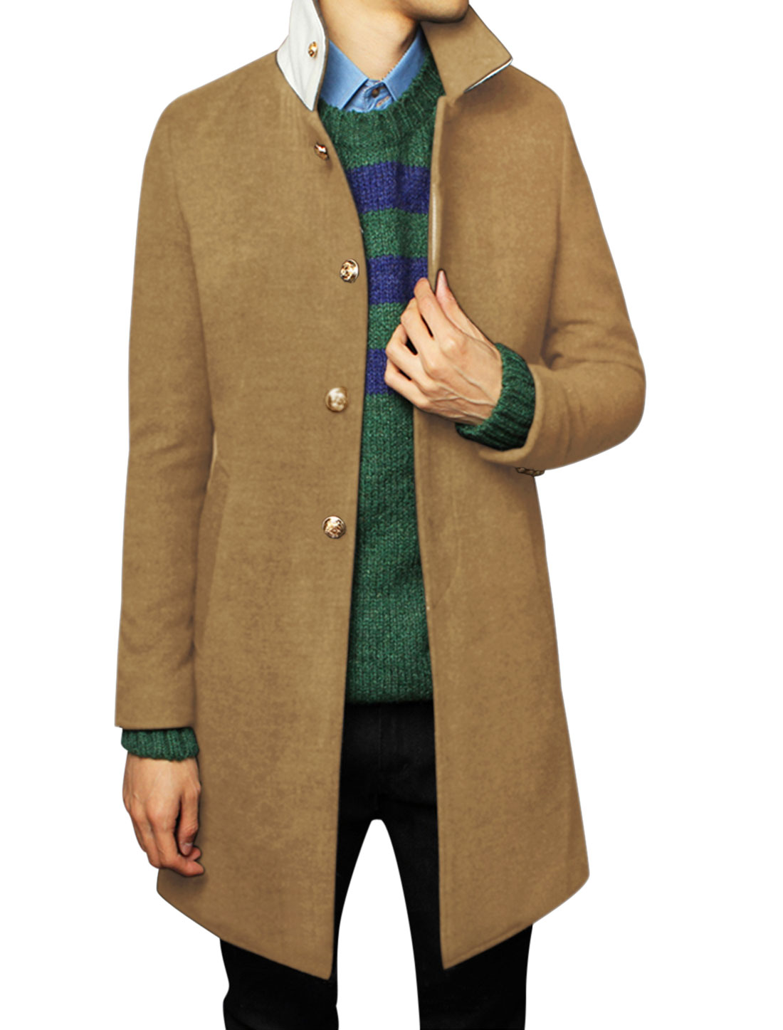 Men One Button Closure Back Long Sleeve Casual Overcoat Ochre M