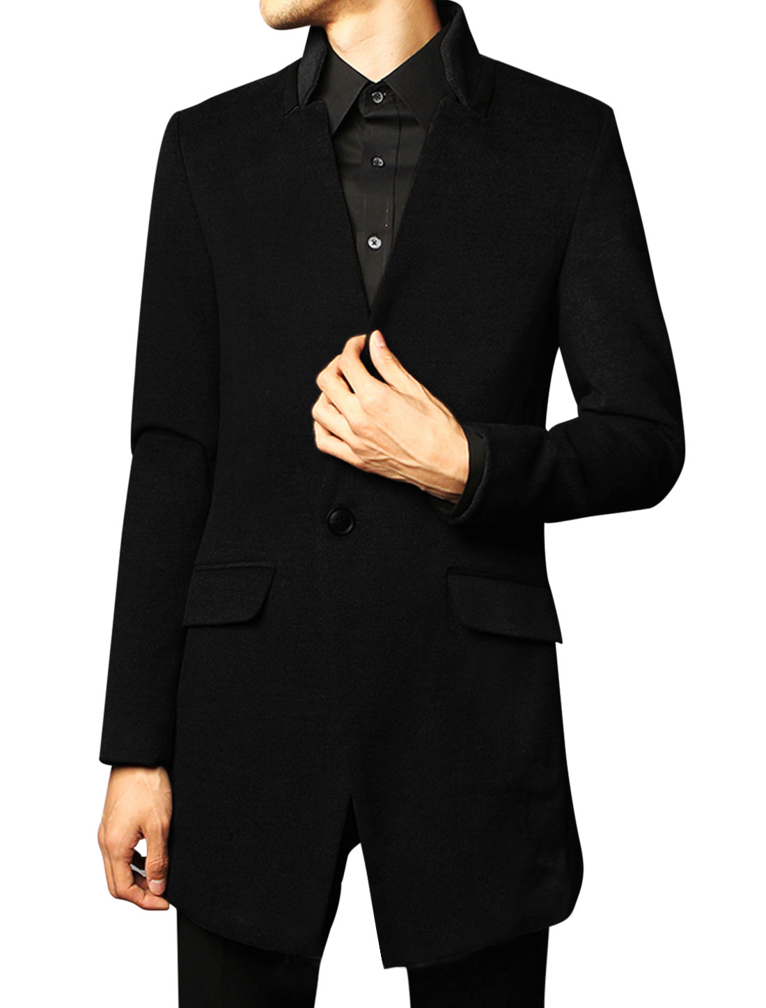 Men Stand Collar Single Button Closure Front Split Back Casual Overcoat Black M