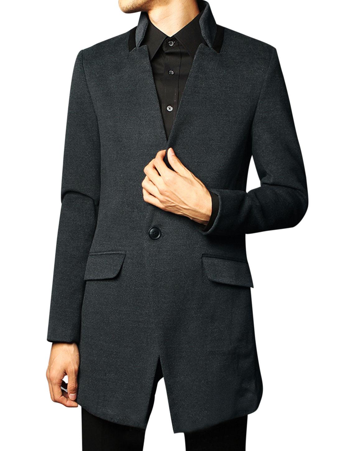 Men Stand Collar Long Sleeve Vertical Pockets Overcoat Dark Gray M