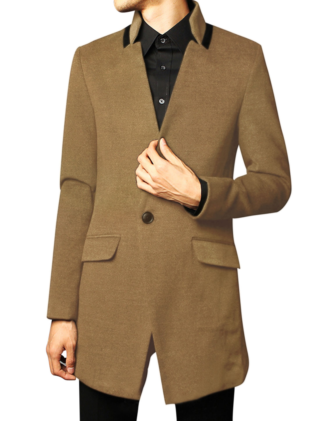 Men Fashion Style Single Button Closure Front Slim Casual Overcoat Camel M