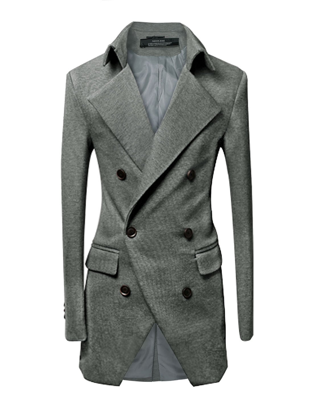 Men Padded Shoulders Long Sleeve Vertical Pockets Trench Jacket Light Gray M