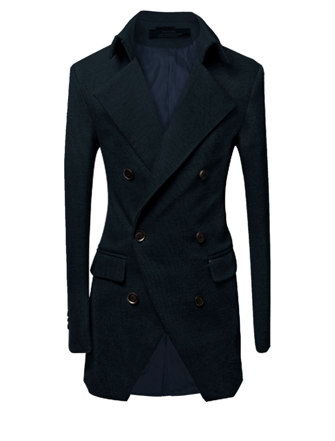 Men Button Closure Front Vertical Pockets Trench Jacket Navy Blue M