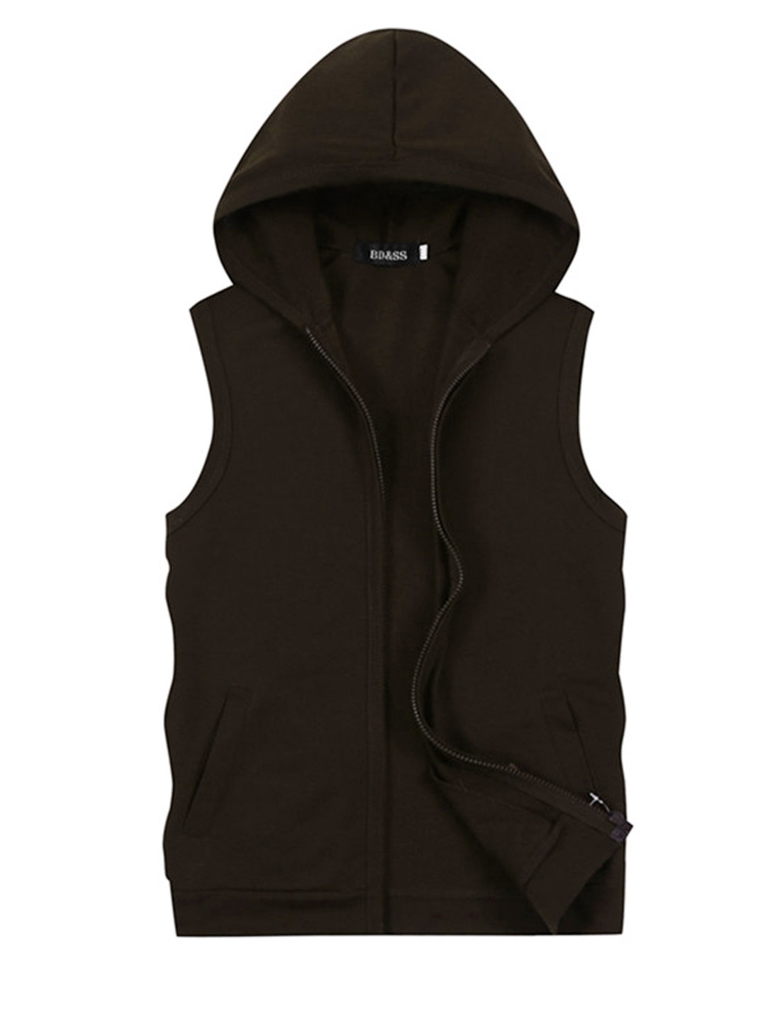 Men Hooded Zip Up Sleeveless Double Slant Pockets Casual Vest Coffee M