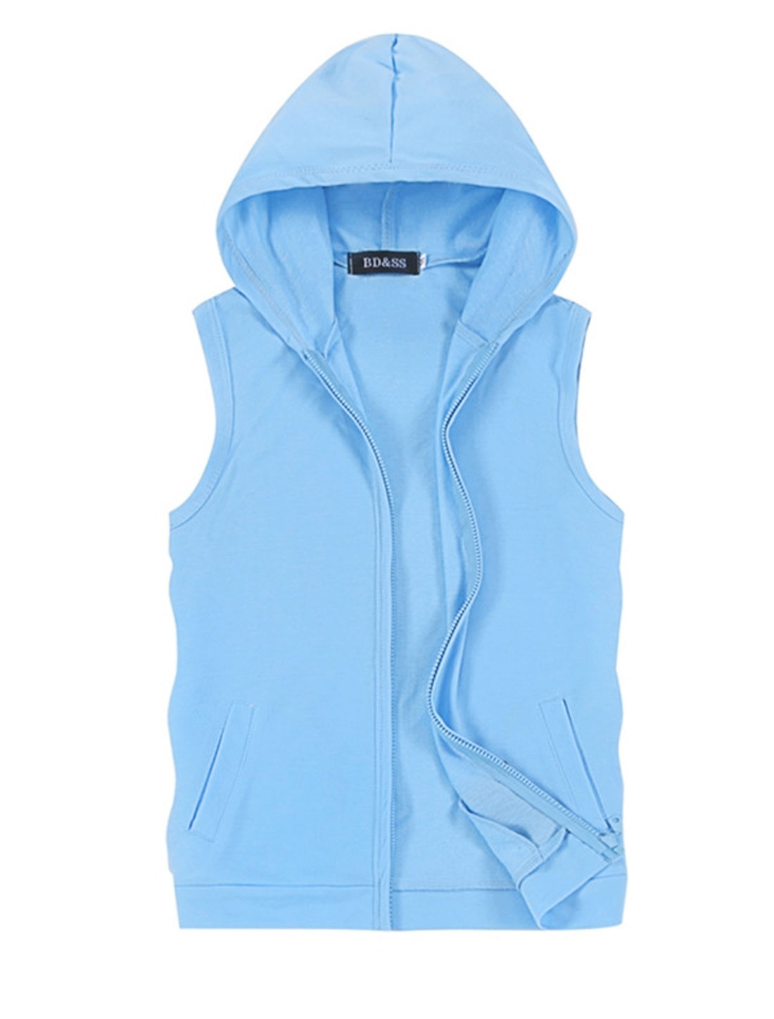 Men Hooded Zip Front Sleeveless Double Slant Pockets Casual Vest Sky Blue M