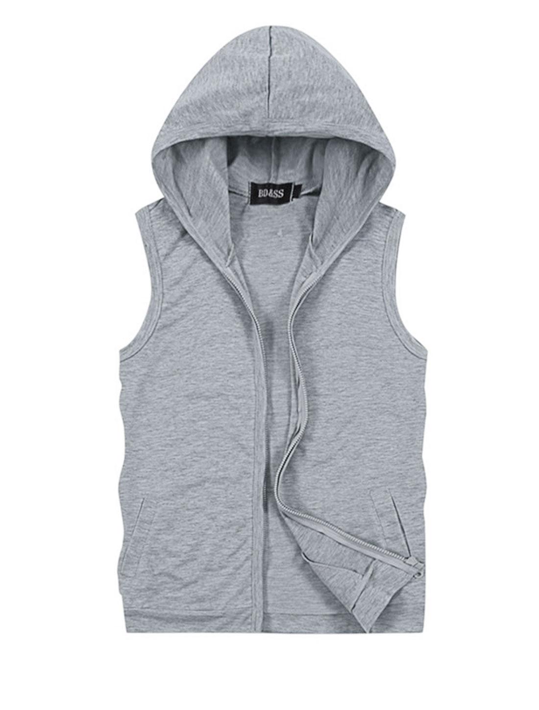 Men Hooded Zipper Closure Sleeveless Casual Vest Light Gray M