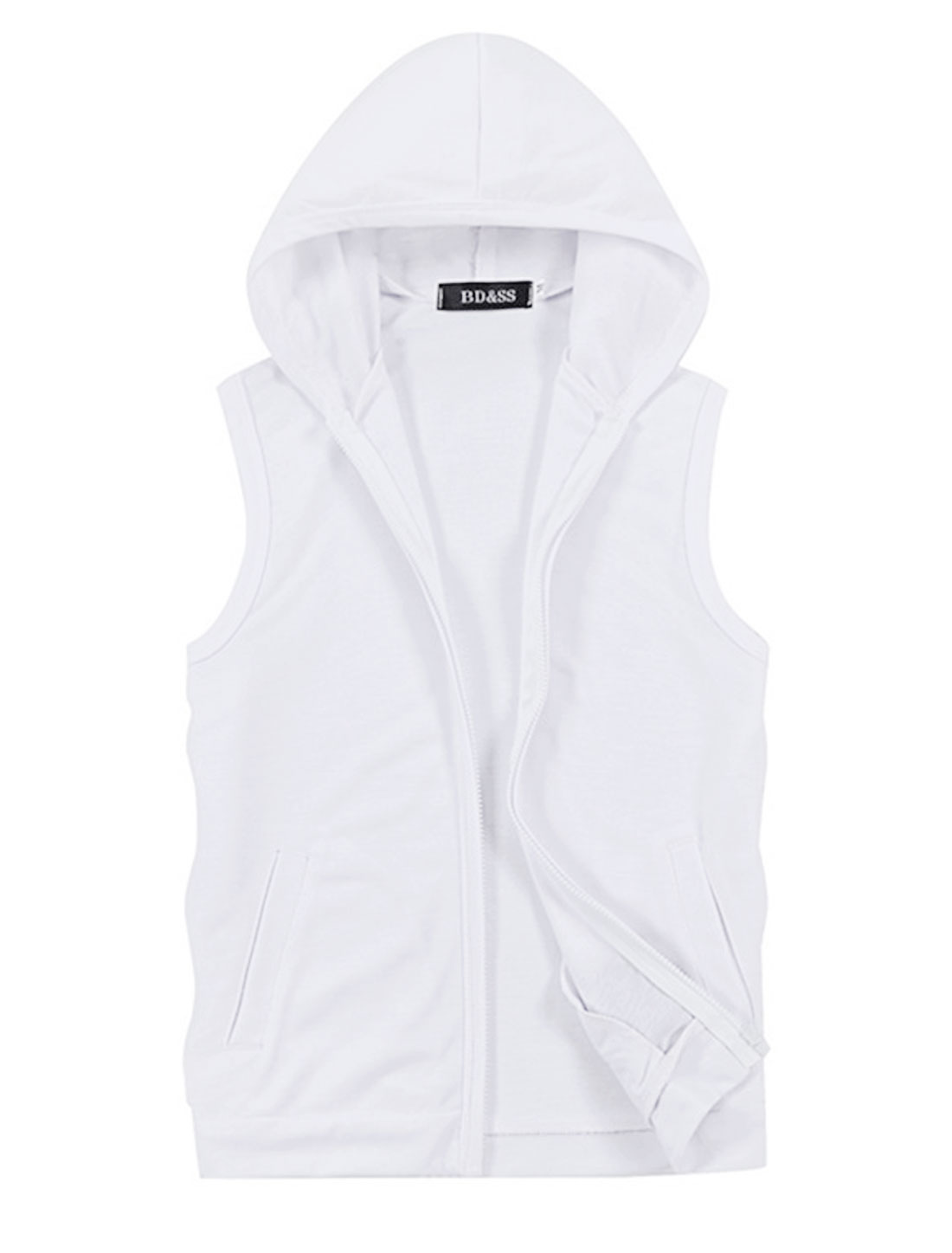 Men Hooded Zip Fly Sleeveless Double Slant Pockets Casual Vest White M