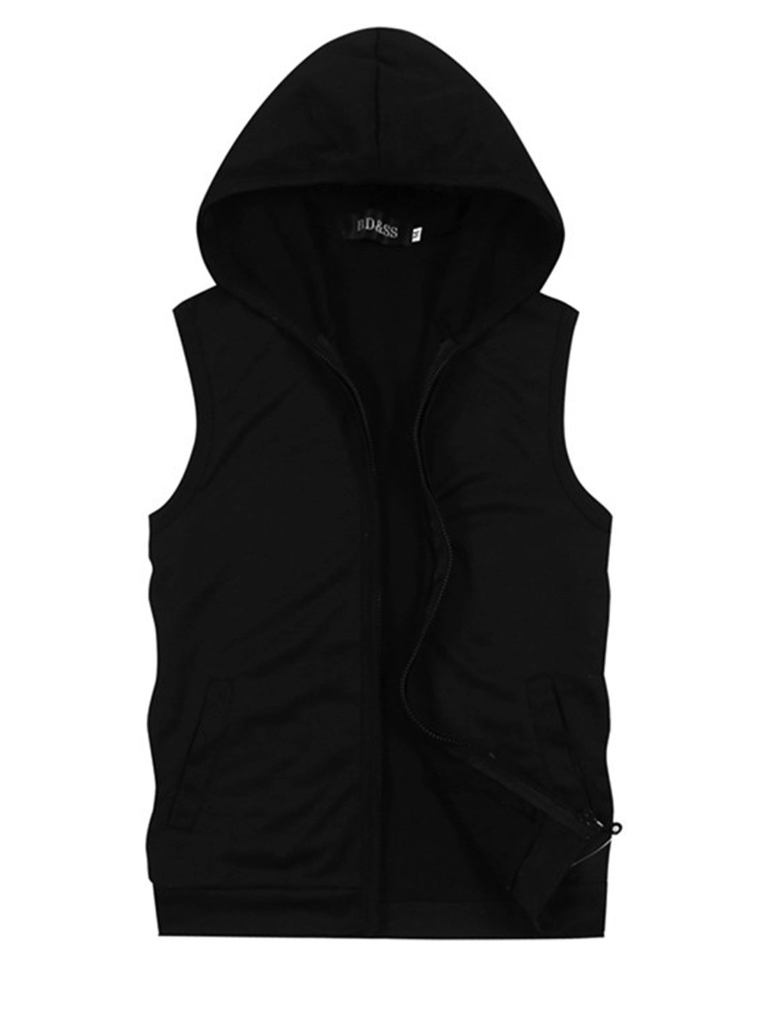 Men Hooded Zip Fly Sleeveless Double Slant Pockets NEW Vest Black M