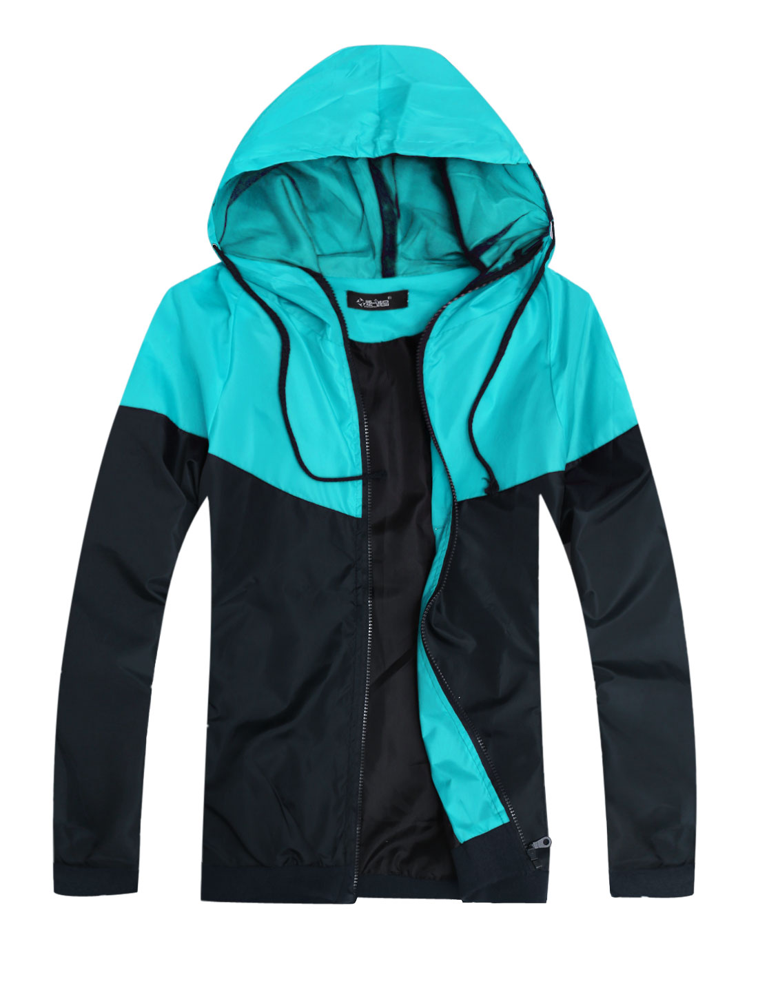 Men Hooded Zip Fly Panel Design Colorblock Basic Jacket Sky Blue Navy Blue S