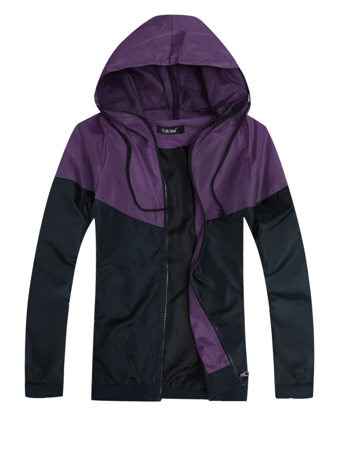 Men Hooded Zip Fly Contrast Color Basic Jacket Purple Navy Blue S
