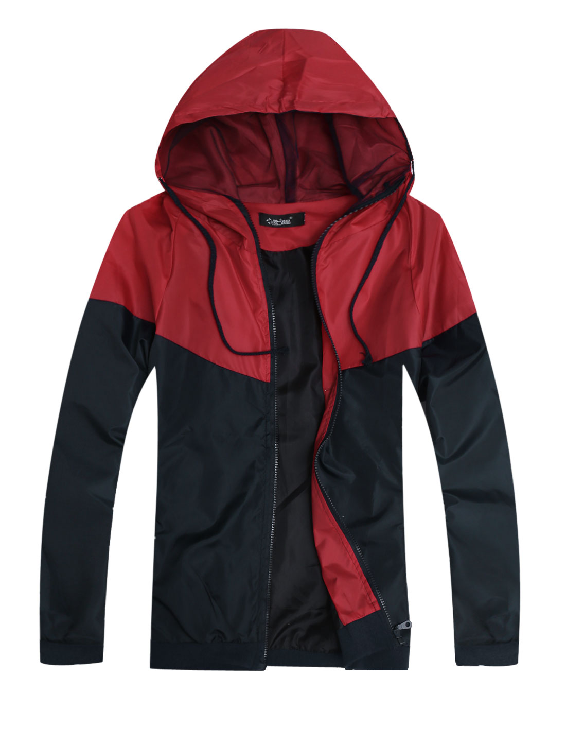 Men Drawstring Hooded Panel Design Colorblock Basic Jacket Red Navy Blue S