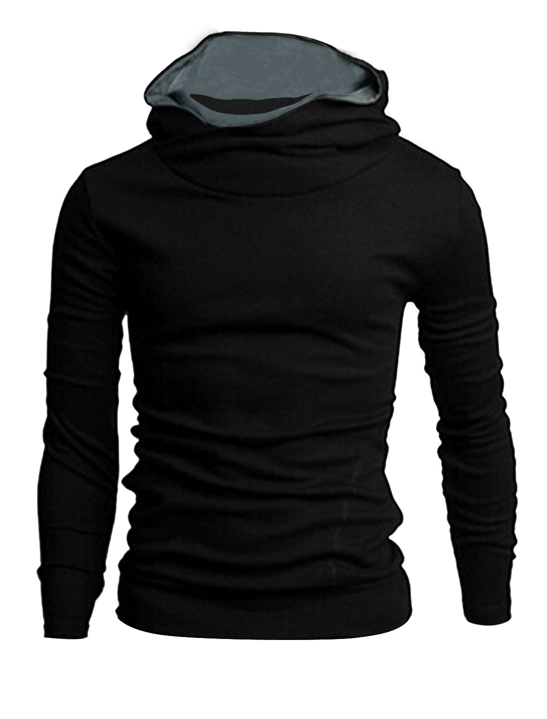 Men Cowl Neck Two Slant Pockets Front Casual Hoodie Black M