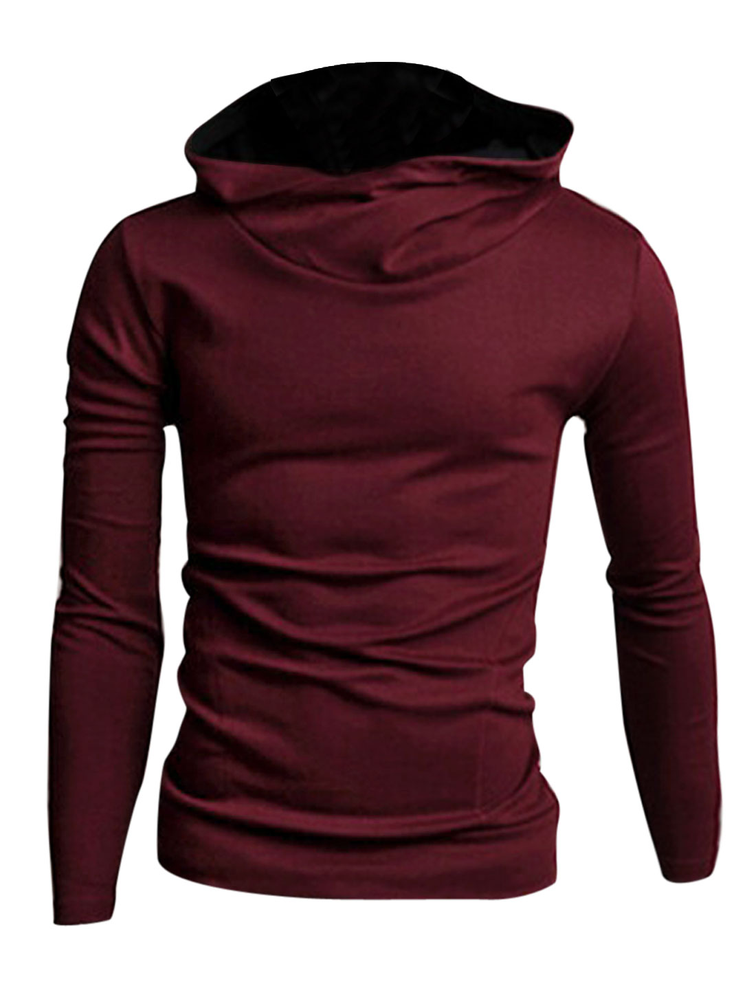 Men Cowl Neck Long Sleeve Double Slant Pockets Front Casual Hoodie Burgundy M