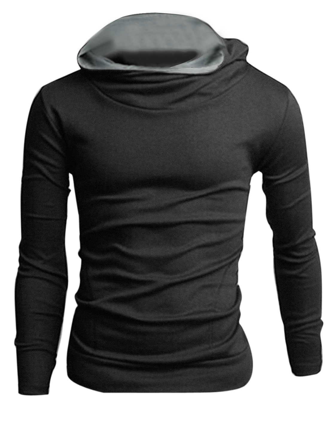 Men Cowl Neck Slant Pockets Front Chic Hoodie Dark Gray M