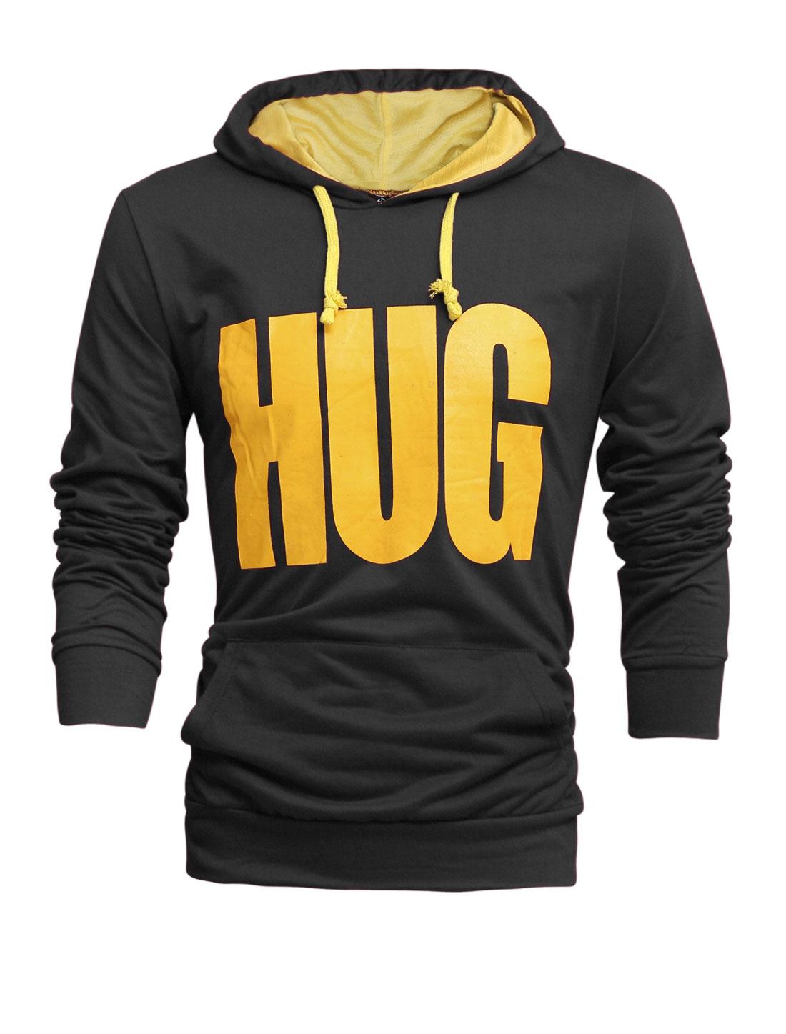 Men Drawstring Hooded Letters Prints Kangaroo Pocket Front Top Shirt Dark Gray M
