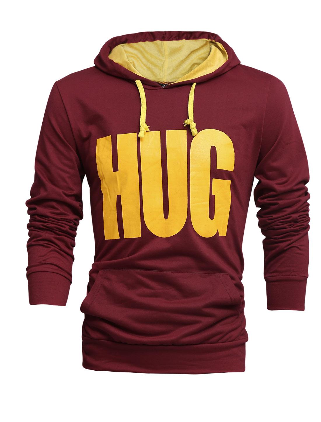 Men Drawstring Hooded Letters Prints Leisure Top Shirt Burgundy M