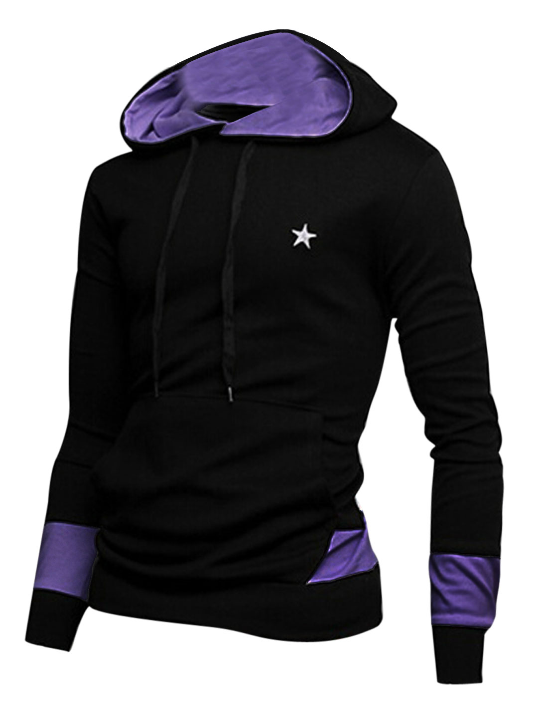 Men Contrast Color Kangaroo Pocket Star Embroidery Hoodie Shirt Black M