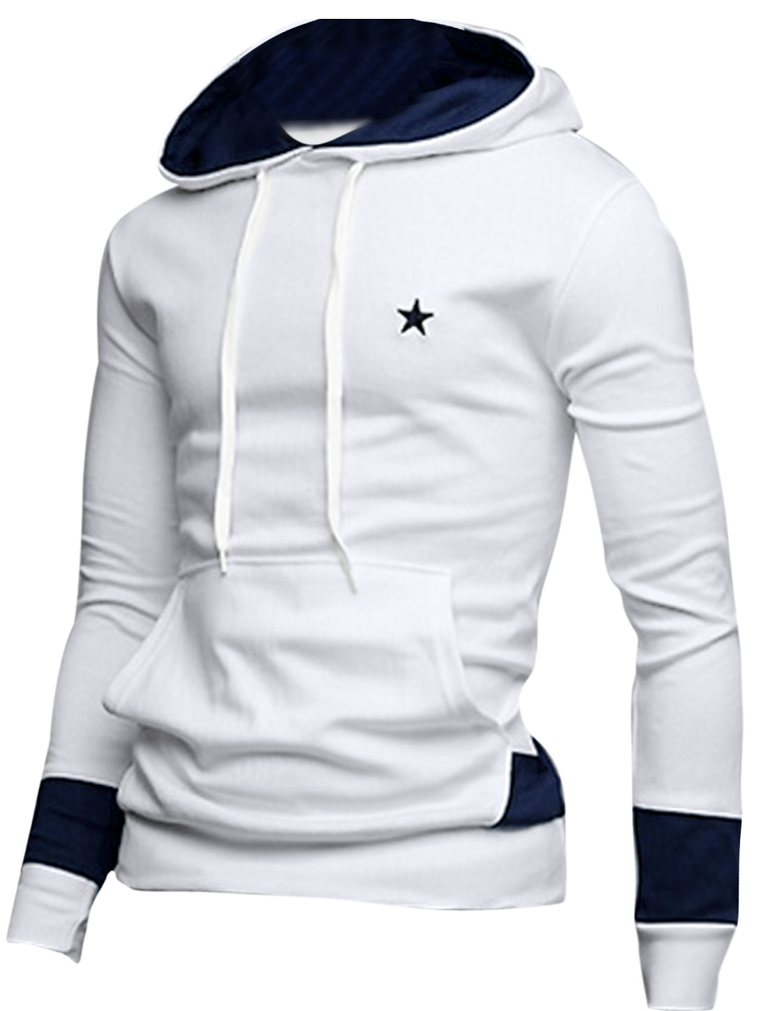 Men Colorblock Kangaroo Pocket Star Embroidery Hoodie Shirt White M