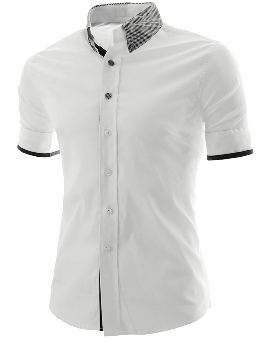 Men Convertible Collar Single Breasted Casual Shirt White M