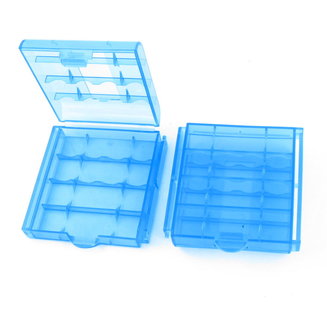 Blue Plastic 4 Capacity AAA Battery Holder Case Storage Box Clear 2PCS