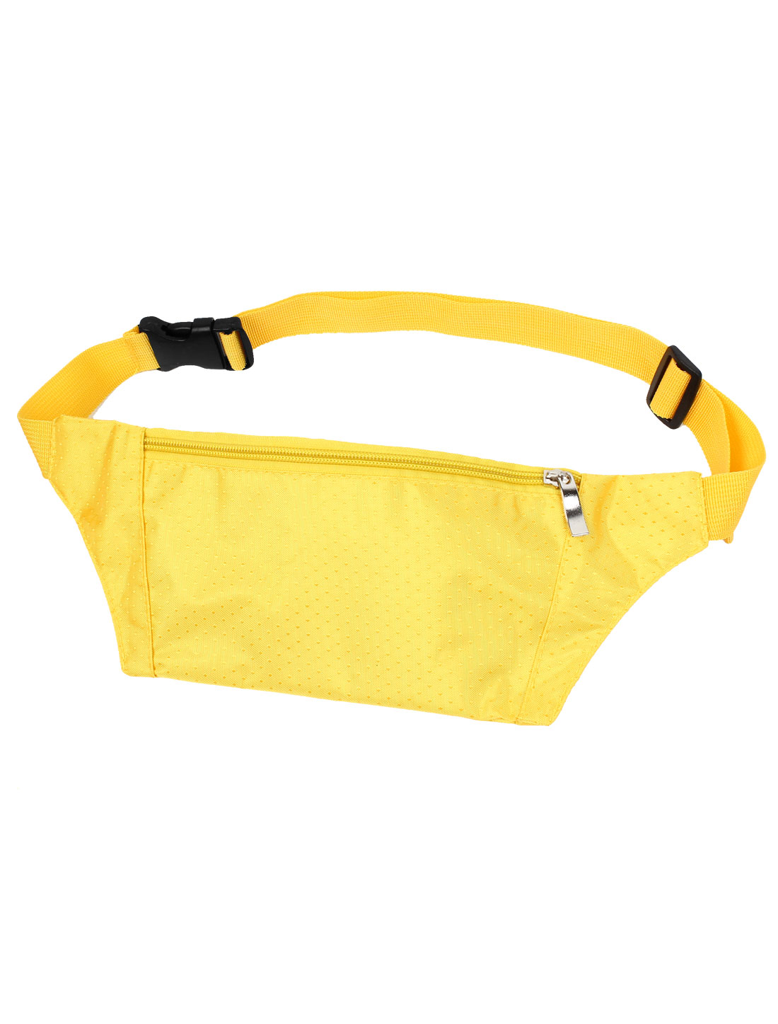 Unisex Side Release Buckle Zip up 3 Compartments Waist Bag Pouch Pack Yellow