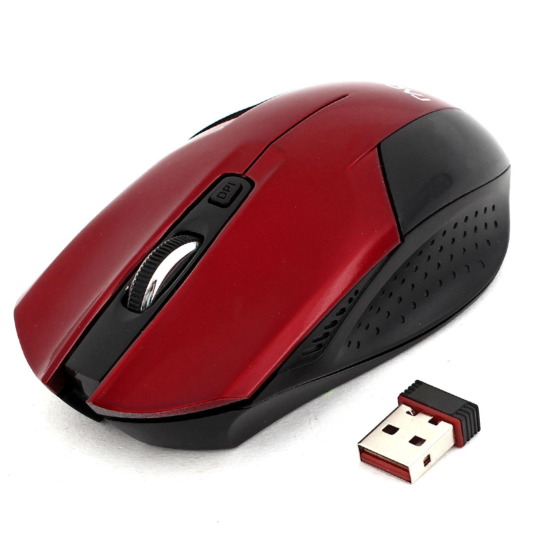 Red Black Plastic Rechargeable 1600DPI 2.4G Cordless Optical Mouse w USB Receiver