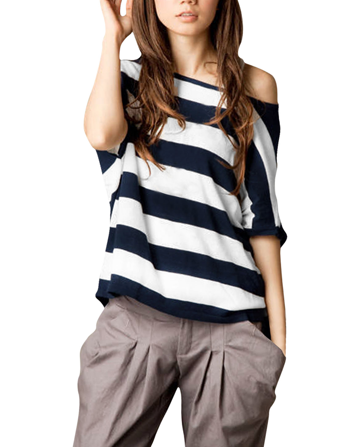 Lady Asymmetric Neck Dolman Sleeve Stripes Summer Shirt Dark Blue White 1X