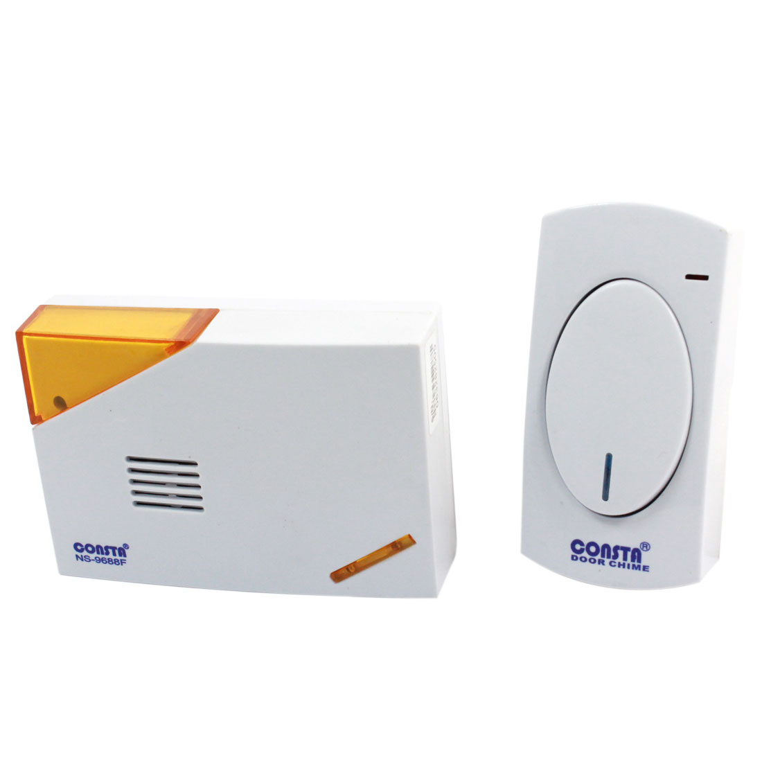 White Plastic Shell Battery Power Remote Control Wireless Doorbell Receiver Set 2 in 1