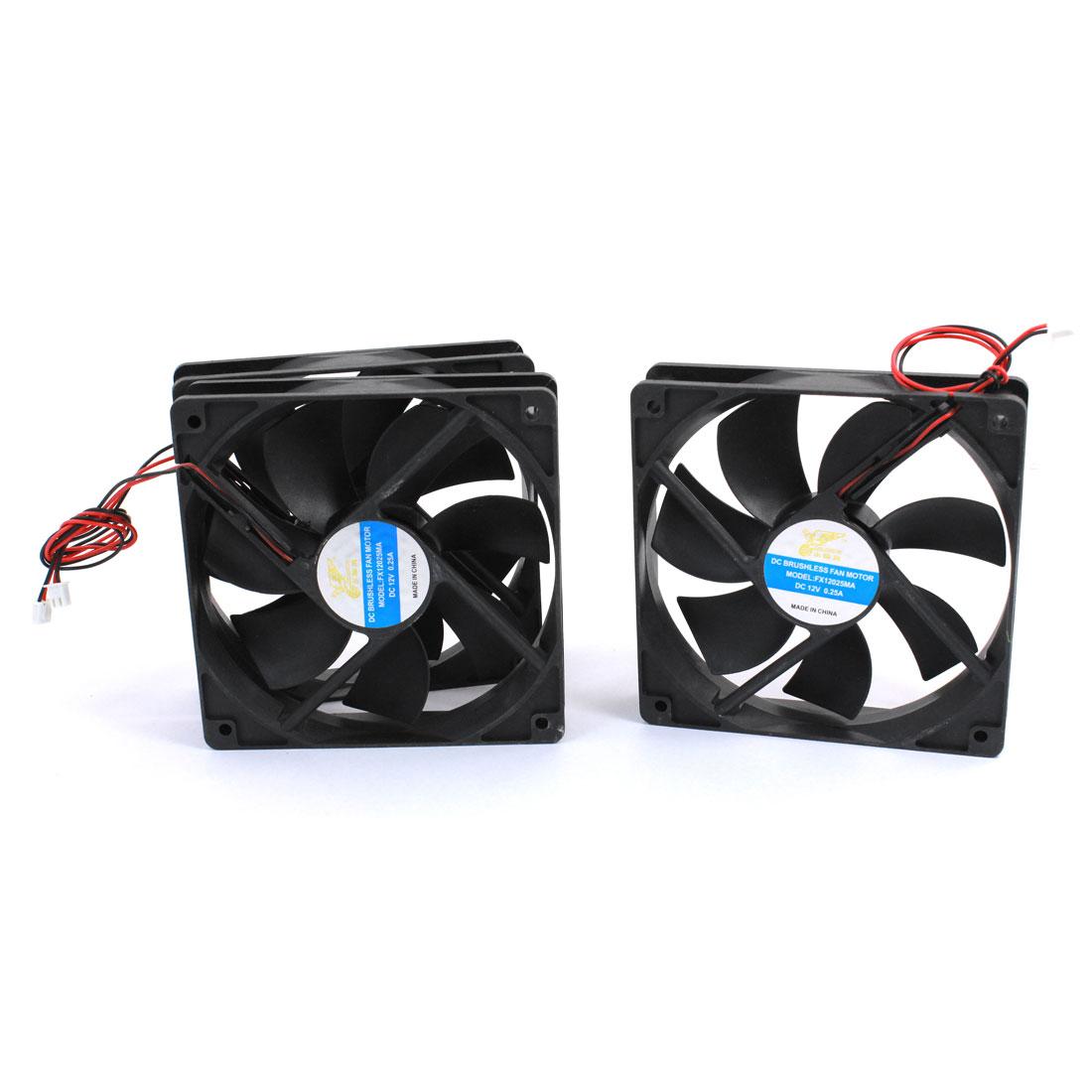 DC 12V 0.25A FX12025MA Brushless Cooling Cooler Fan 120mmx120mmx25mm Black 3pcs