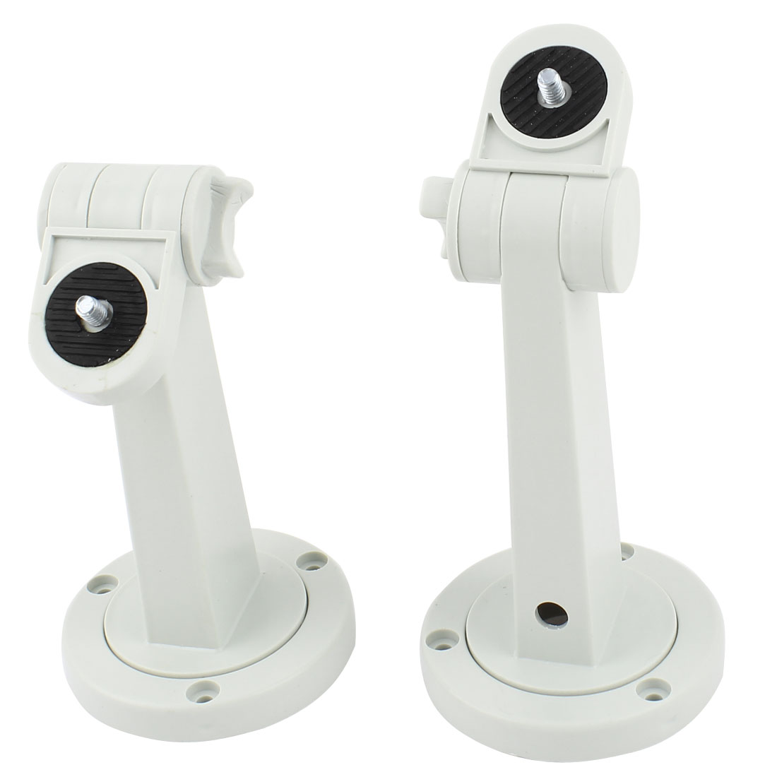 2 Pcs White Plastic Round Base Wall Mount Monitor CCTV Camera Bracket