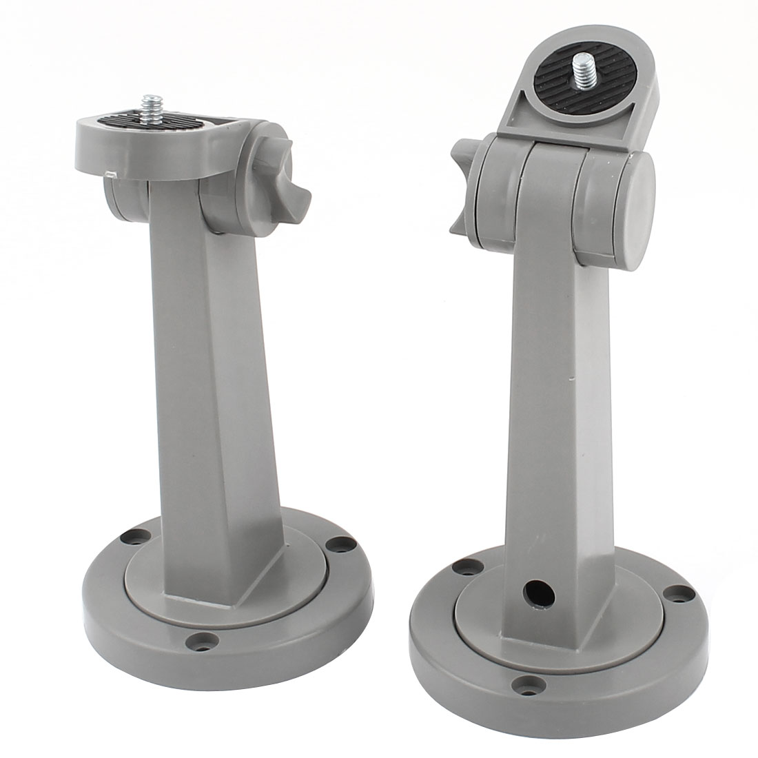 2 Pcs Gray Plastic Round Base Wall Mount Monitor CCTV Camera Bracket