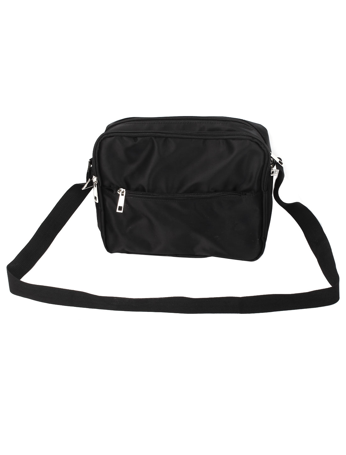 Mens Adjustable Strap Zippered 3 Pockets Nylon Shoulder Bag Black