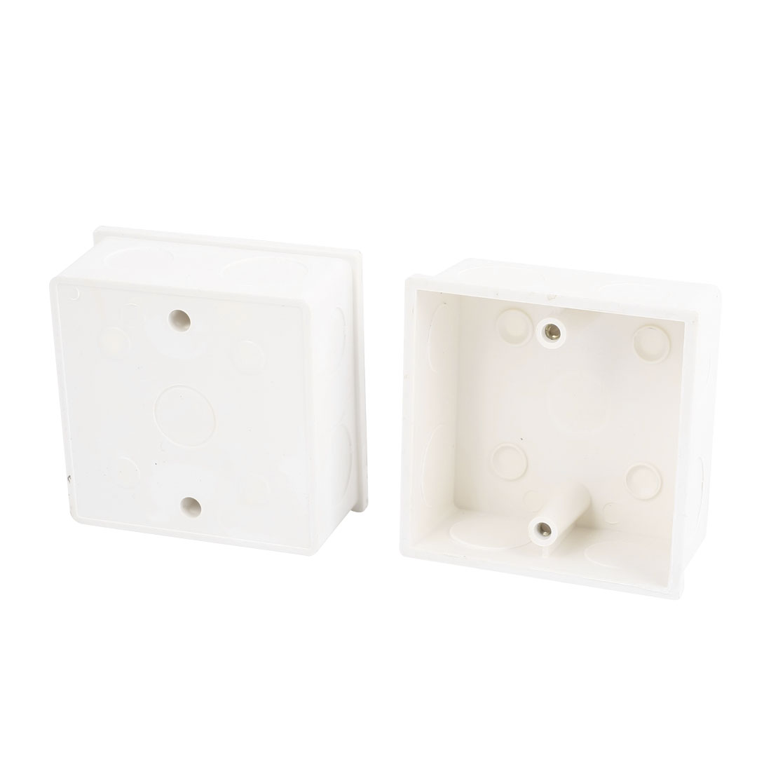 2 Pcs 86x86x43mm White PVC Single Gang Mount Back Box for Wall Socket
