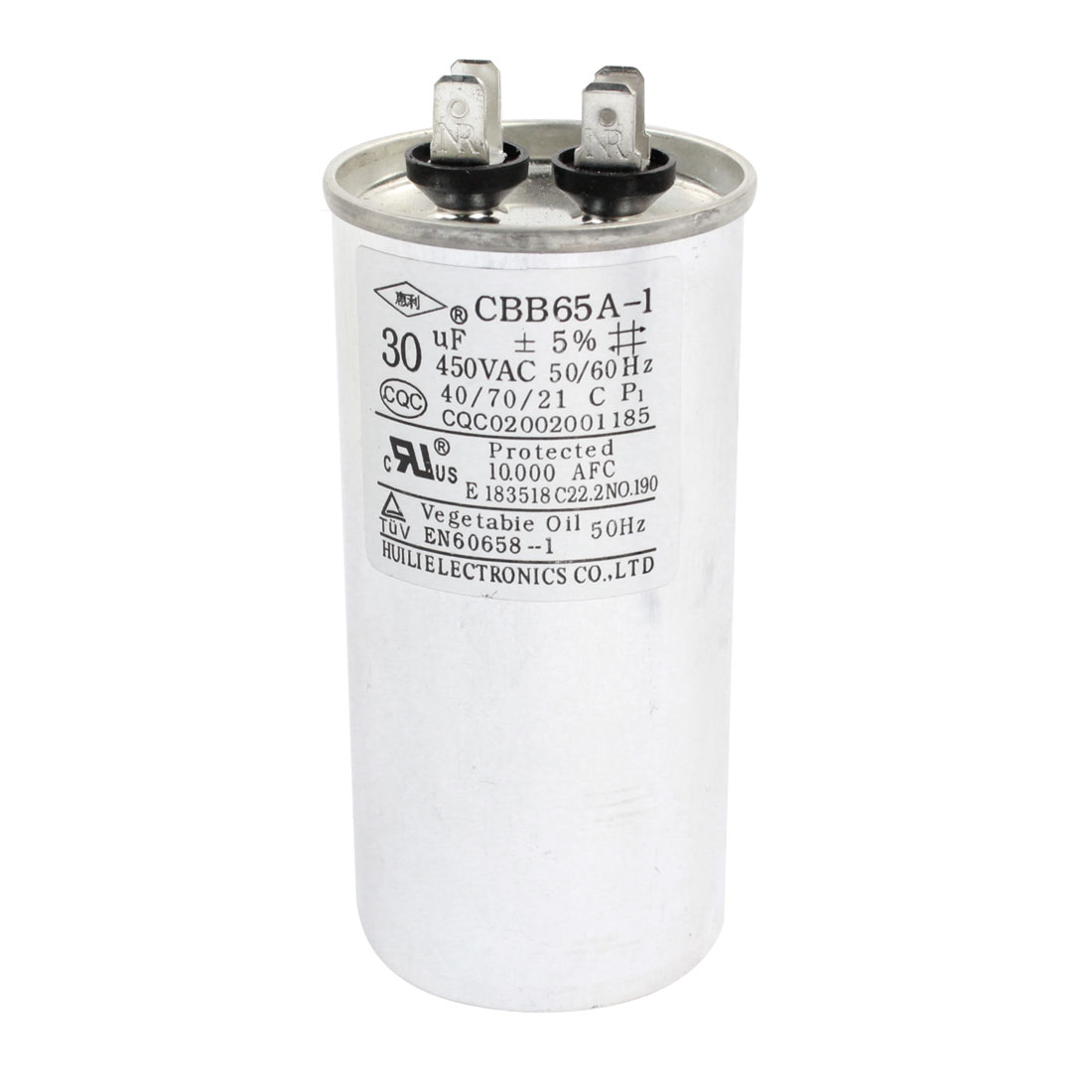 AC 450V 30uF 4 Terminals Cylinder Shaped Air Conditioner Motor Run Capacitor CBB65A-1 Silver Tone
