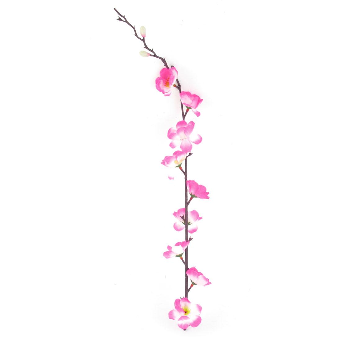 """Artificial Fabric Peach Flower Fuchsia White Home Office Ornament 17.7"""" High"""