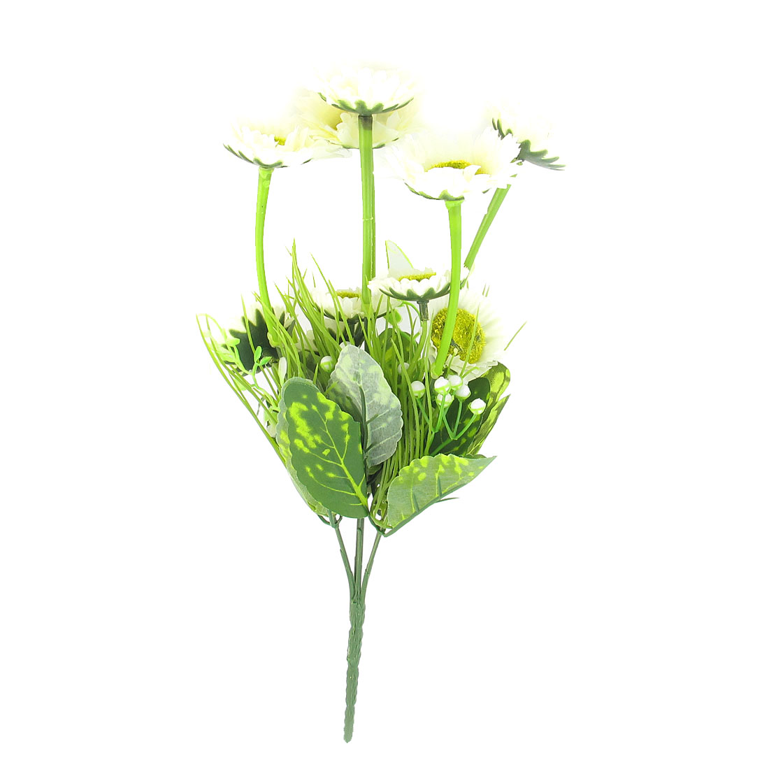 Wedding Party Artificial Fabric Green White Flower Bouquet 34cm Height