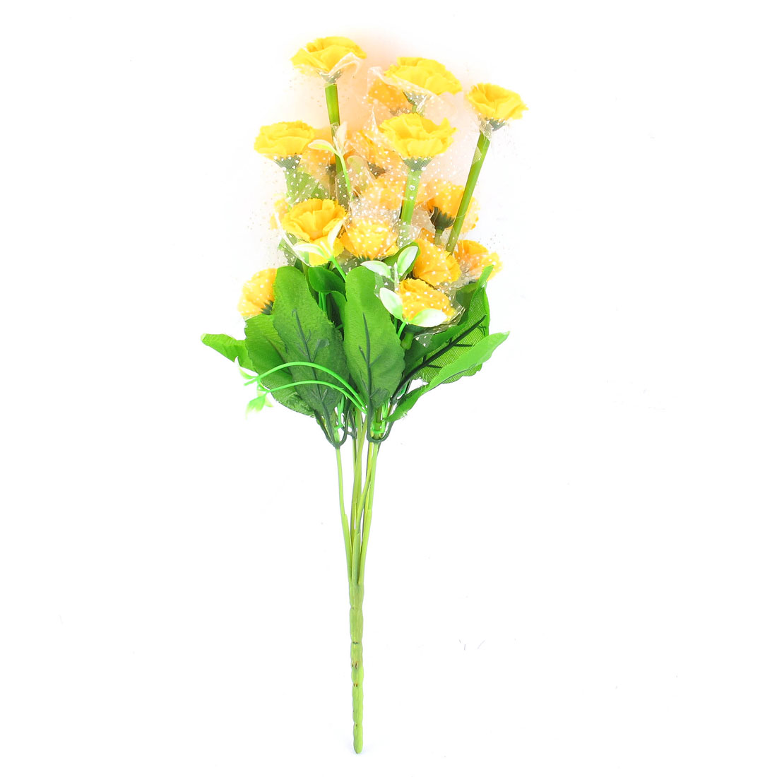 Yellow Artificial Emulational Carnation Flower Bouquet Wedding Party Decor