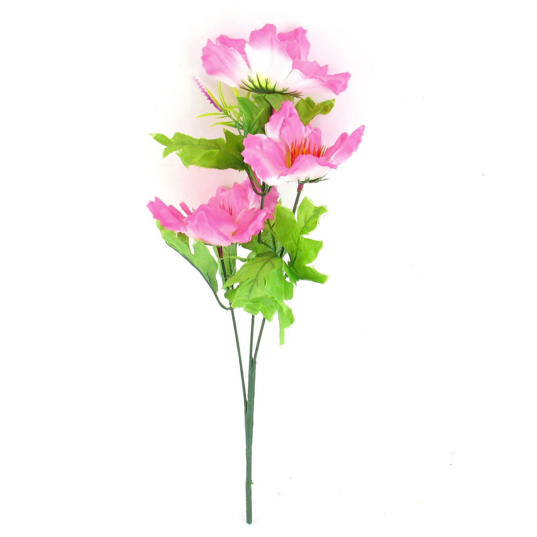 Artificial Pink White Fabric Flower Bouquet Ornament 34cm Height