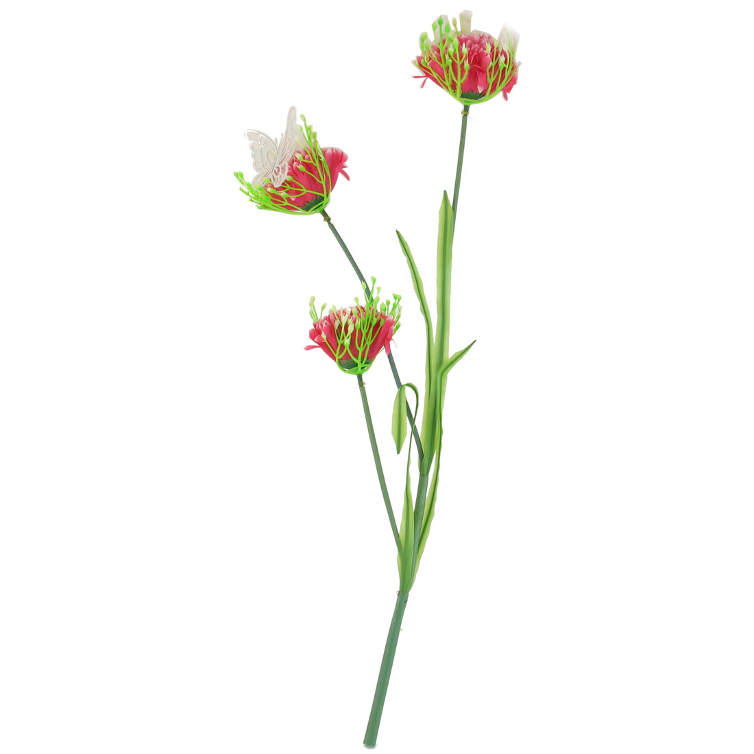 Wedding Party Artificial Bowknot Decor Fabric Fuchsia Flower Bouquet 50cm High