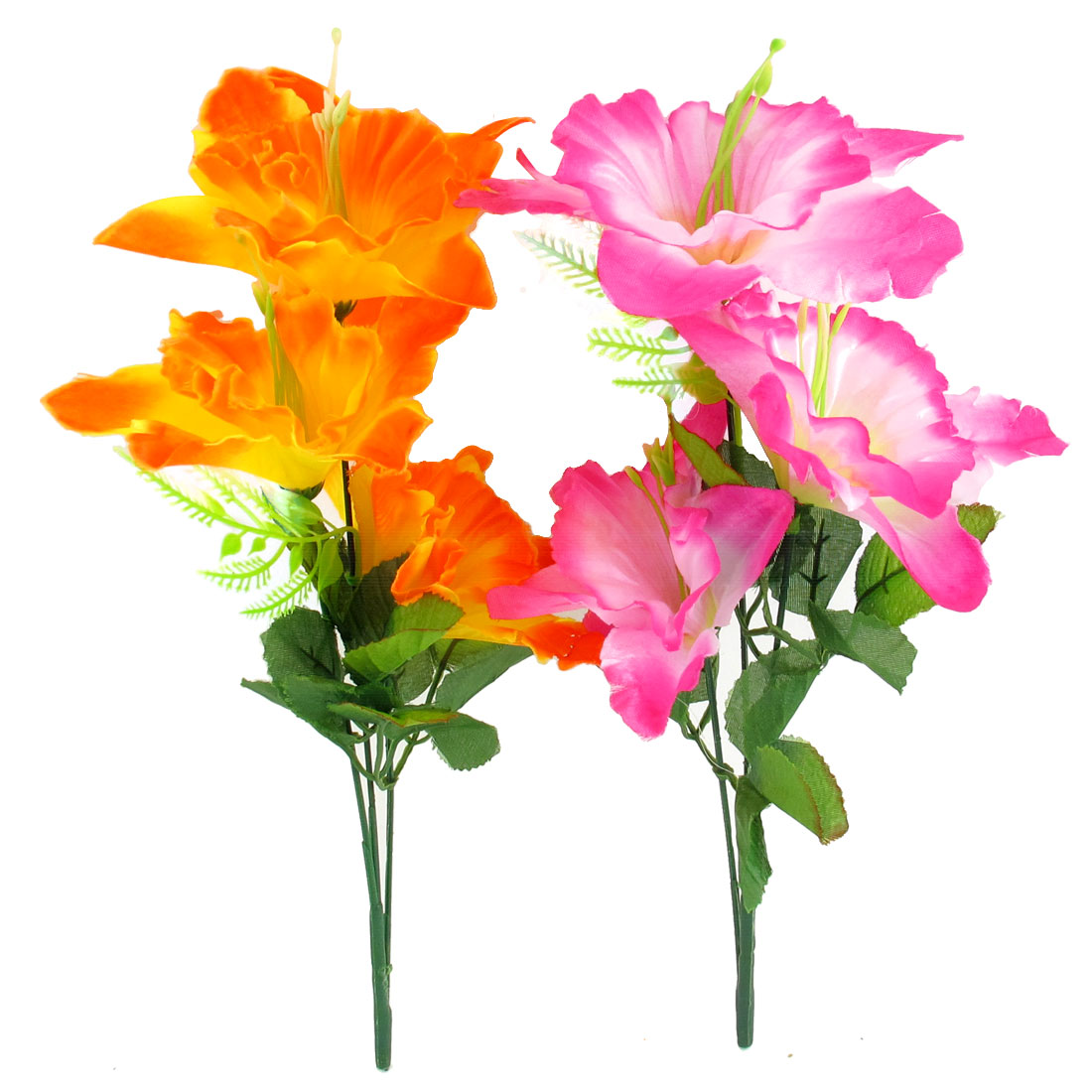 2 Pcs Wedding Party Artificial Fabric Fuchsia Orange Flower Bouquet 32cm High